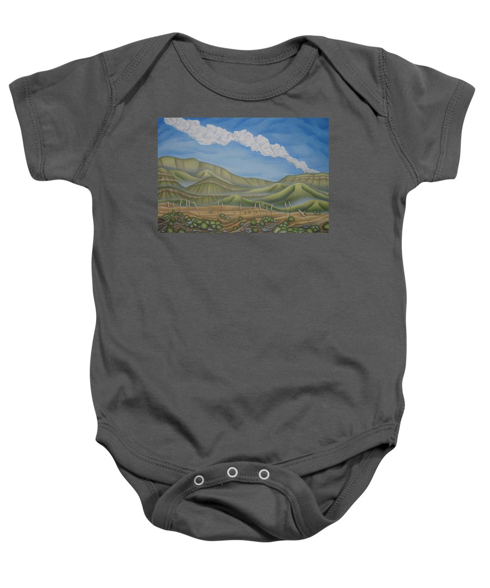 Landscape Baby Onesie featuring the painting Green Desert by Jeniffer Stapher-Thomas