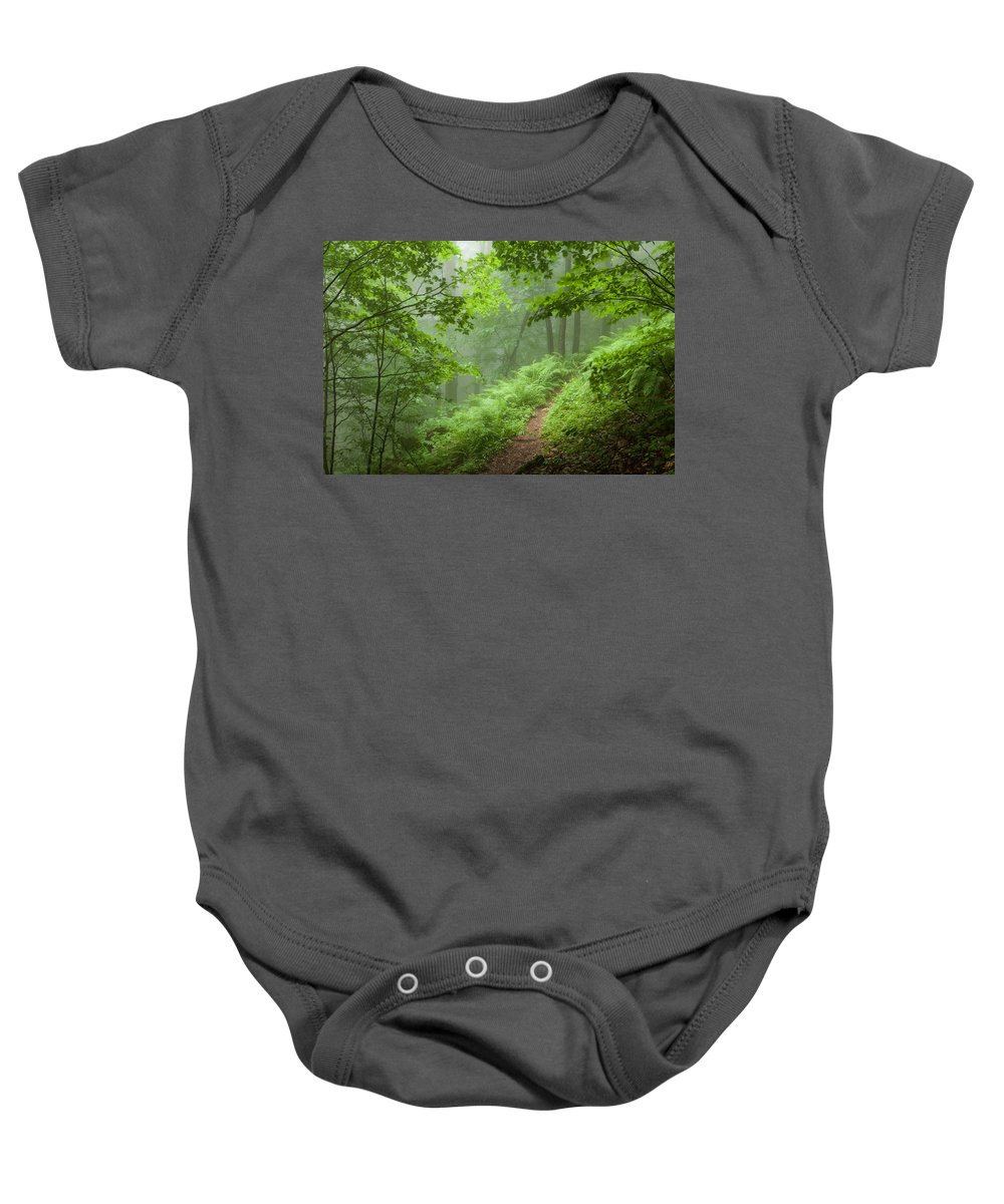 Mountain Baby Onesie featuring the photograph Green Forest by Evgeni Dinev