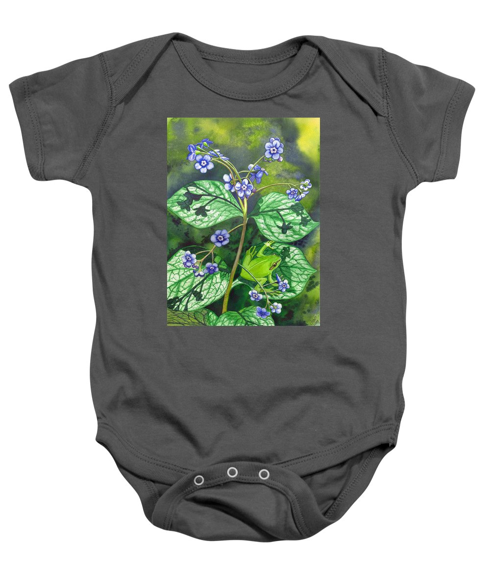 Frog Baby Onesie featuring the painting Green Frog by Catherine G McElroy