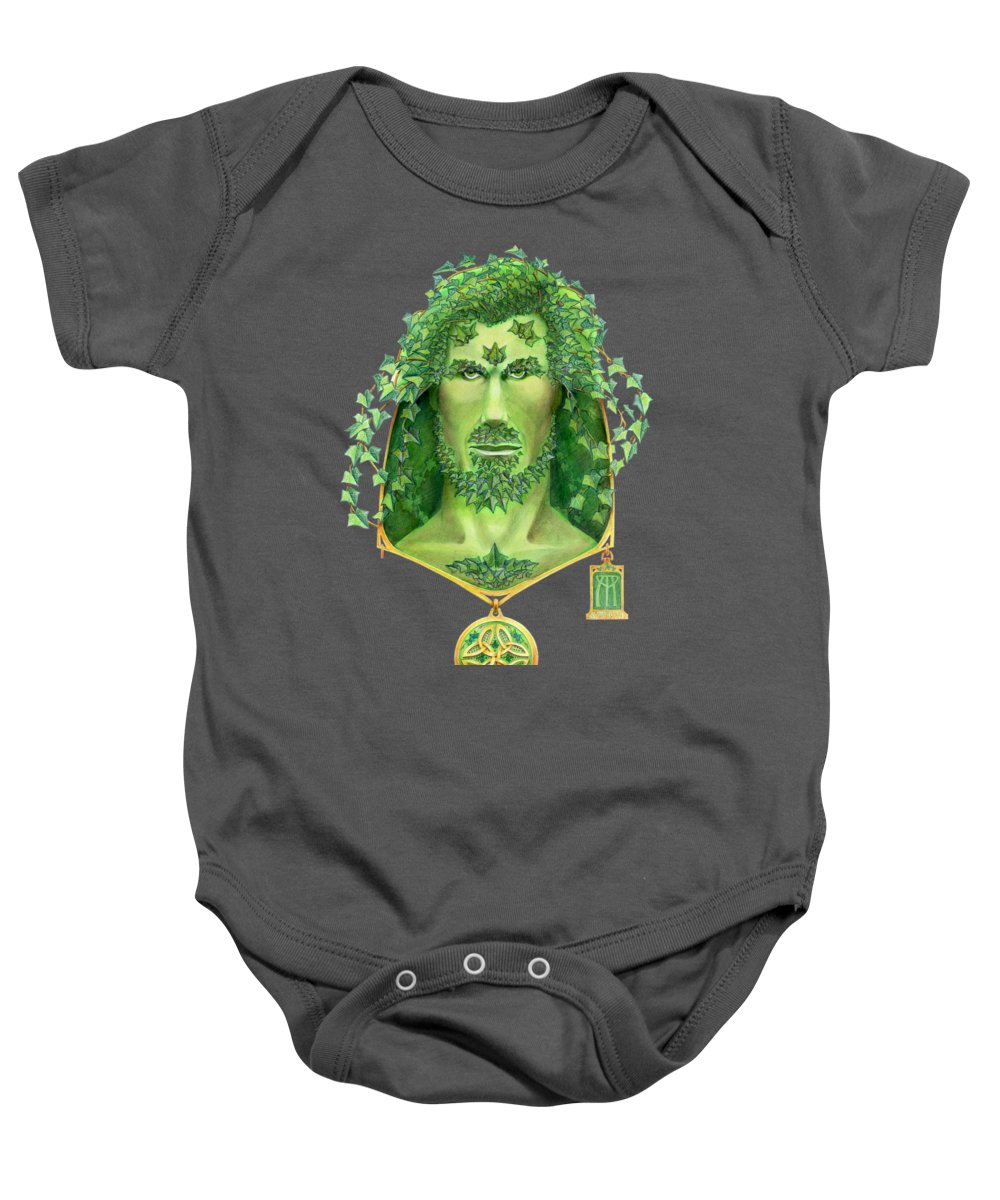 Green Man Baby Onesie featuring the painting Ivy Green Man by Melissa A Benson