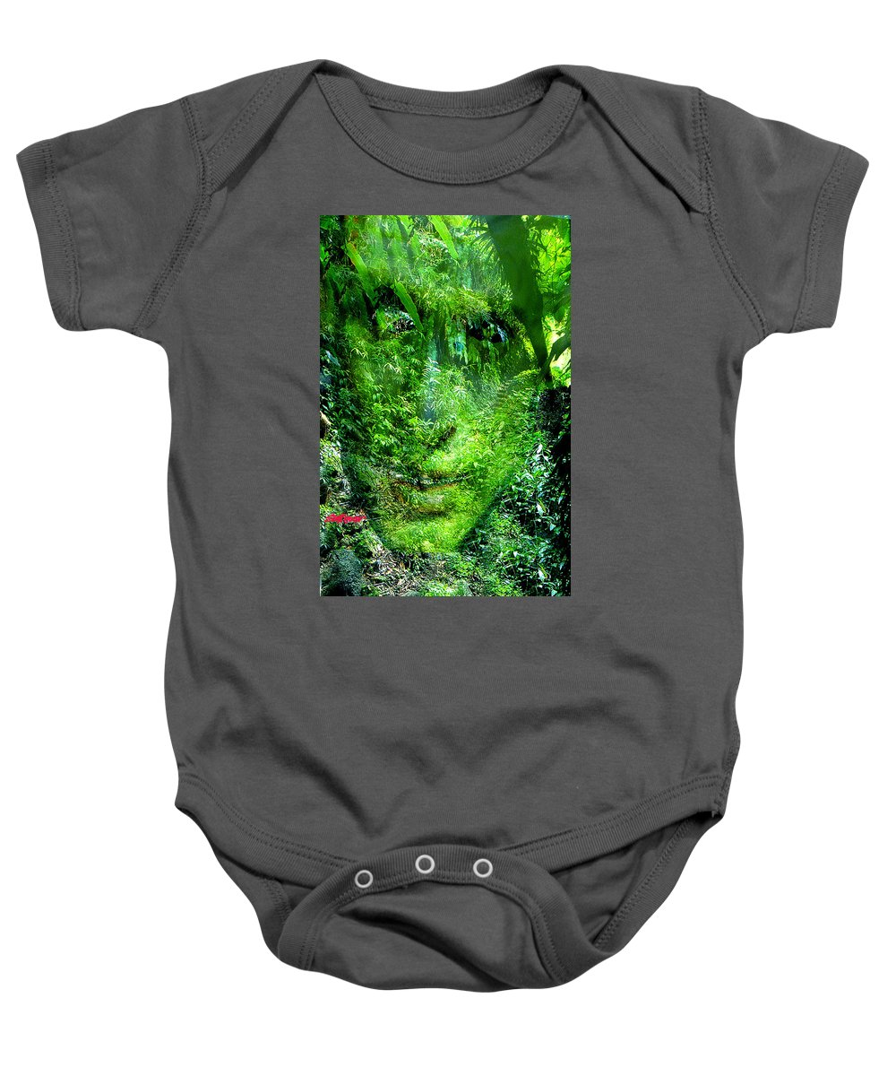 Nature Baby Onesie featuring the digital art Green Man by Seth Weaver