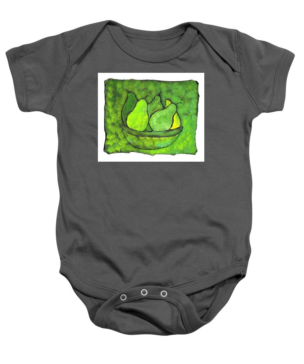 Greem. Pears Baby Onesie featuring the painting Green Pears by Wayne Potrafka