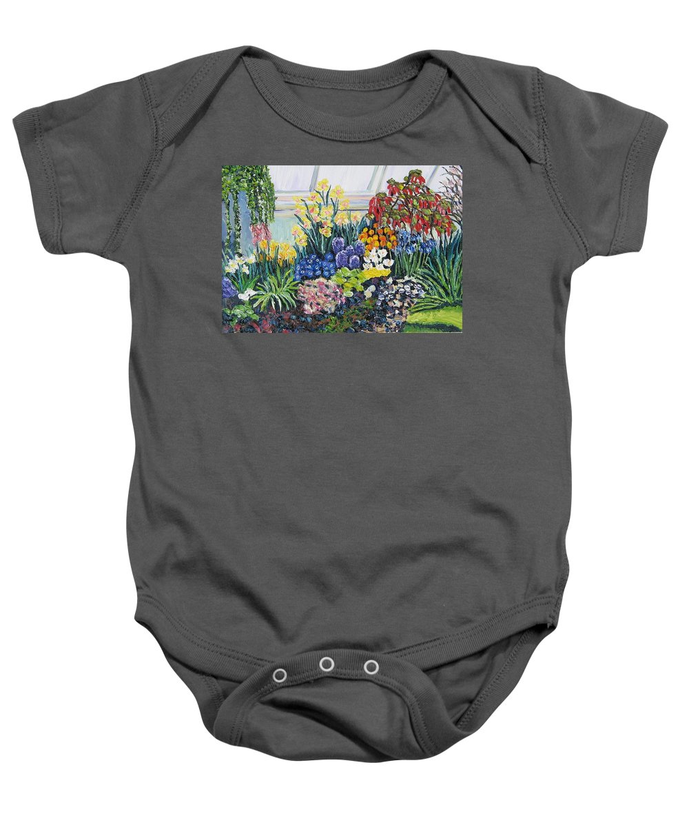 Flowers Baby Onesie featuring the painting Greenhouse Flowers With Blue And Red by Richard Nowak