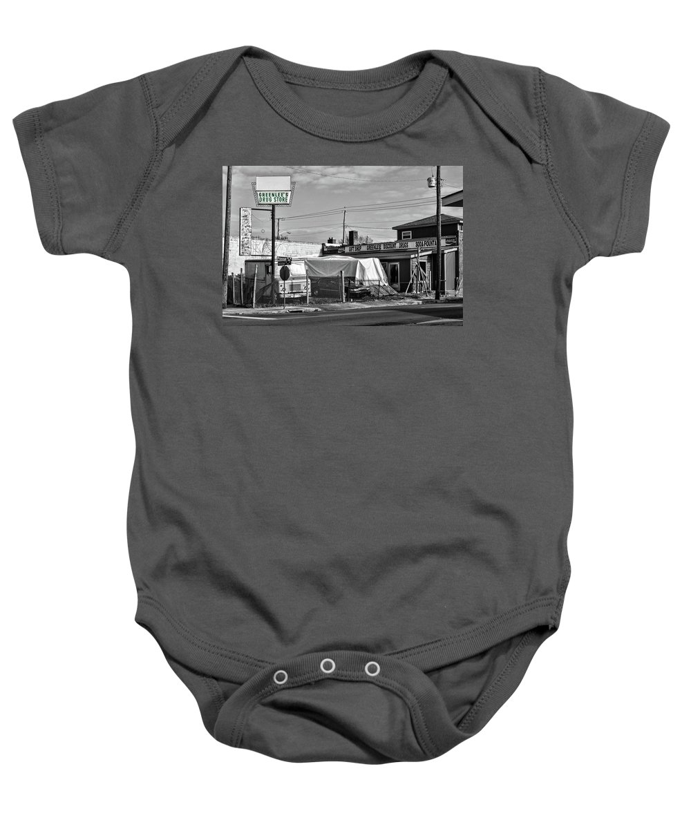 Knoxville Baby Onesie featuring the photograph Greenlees Drug Store by Sharon Popek