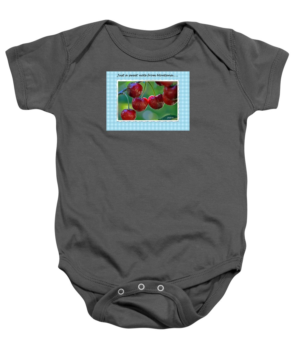 Cherries Baby Onesie featuring the photograph Greeting Card - Cherries #1 by Jerrie Bullock
