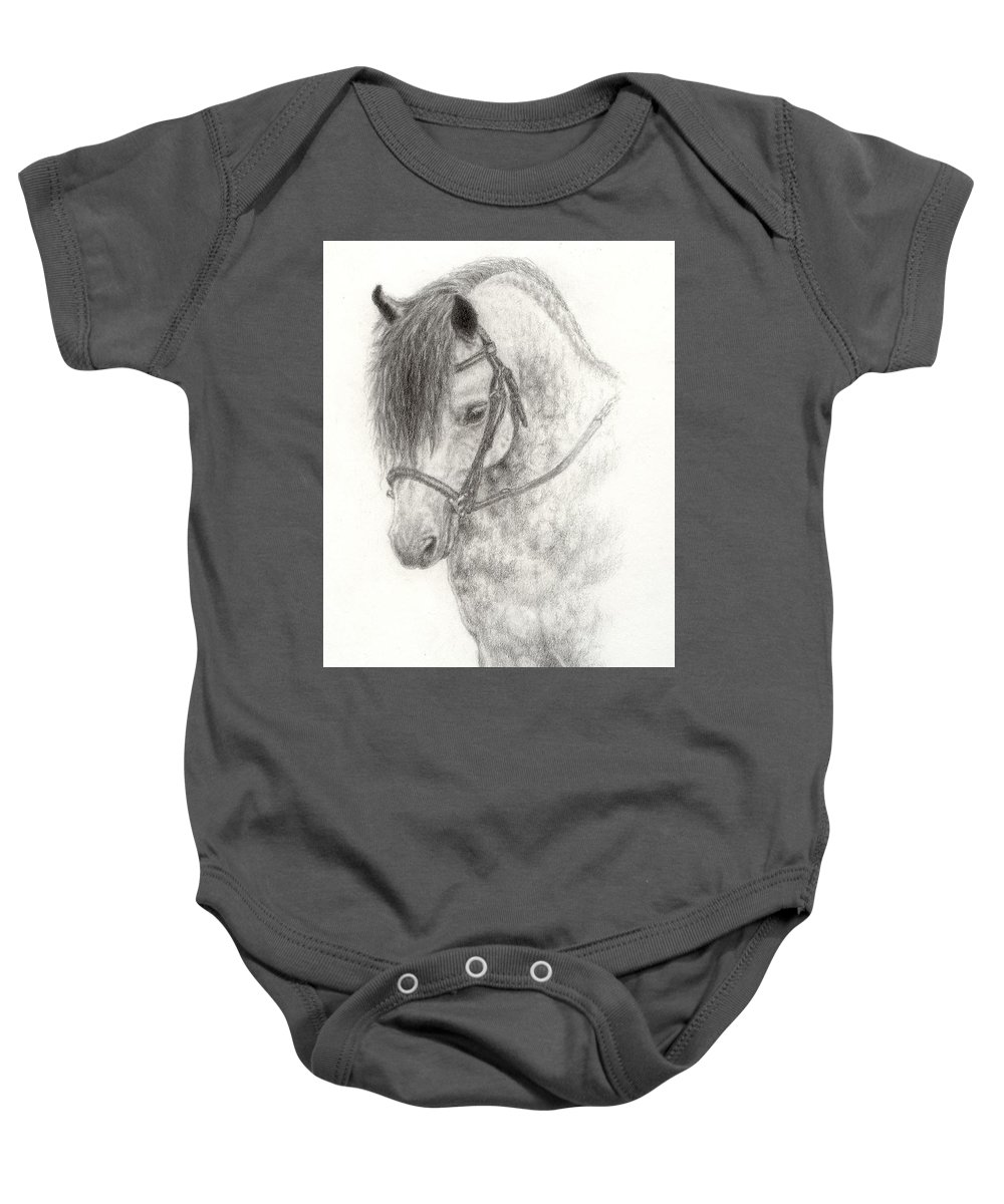 Pony Baby Onesie featuring the drawing Grey Pony by Jennifer Nilsson