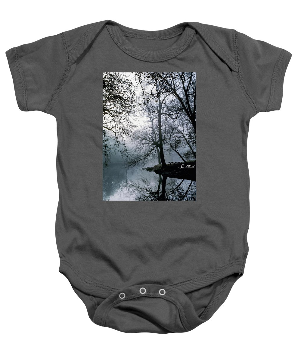 Grings Mill Recreation Area Baby Onesie featuring the photograph Grings Mill Fog 1043 by Scott McAllister
