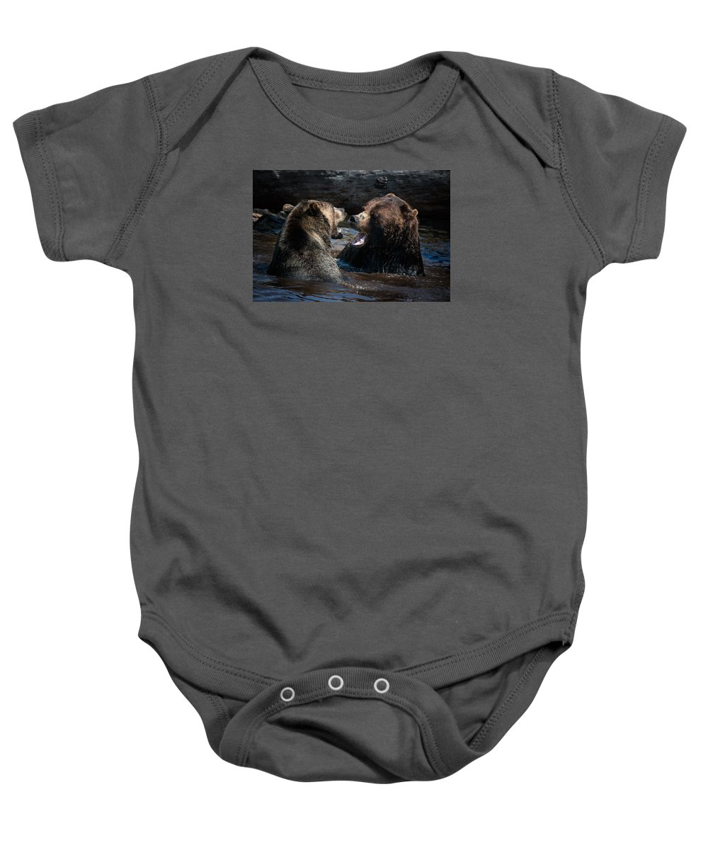 Bears Baby Onesie featuring the photograph Grizzly Bears by Naman Imagery