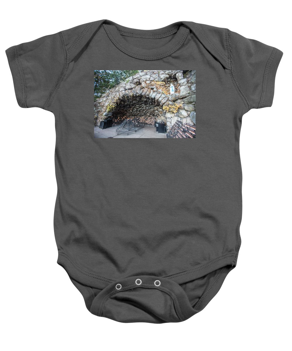 American University Baby Onesie featuring the photograph Grotto Of Our Lady Of Lourdes 2 by John McGraw