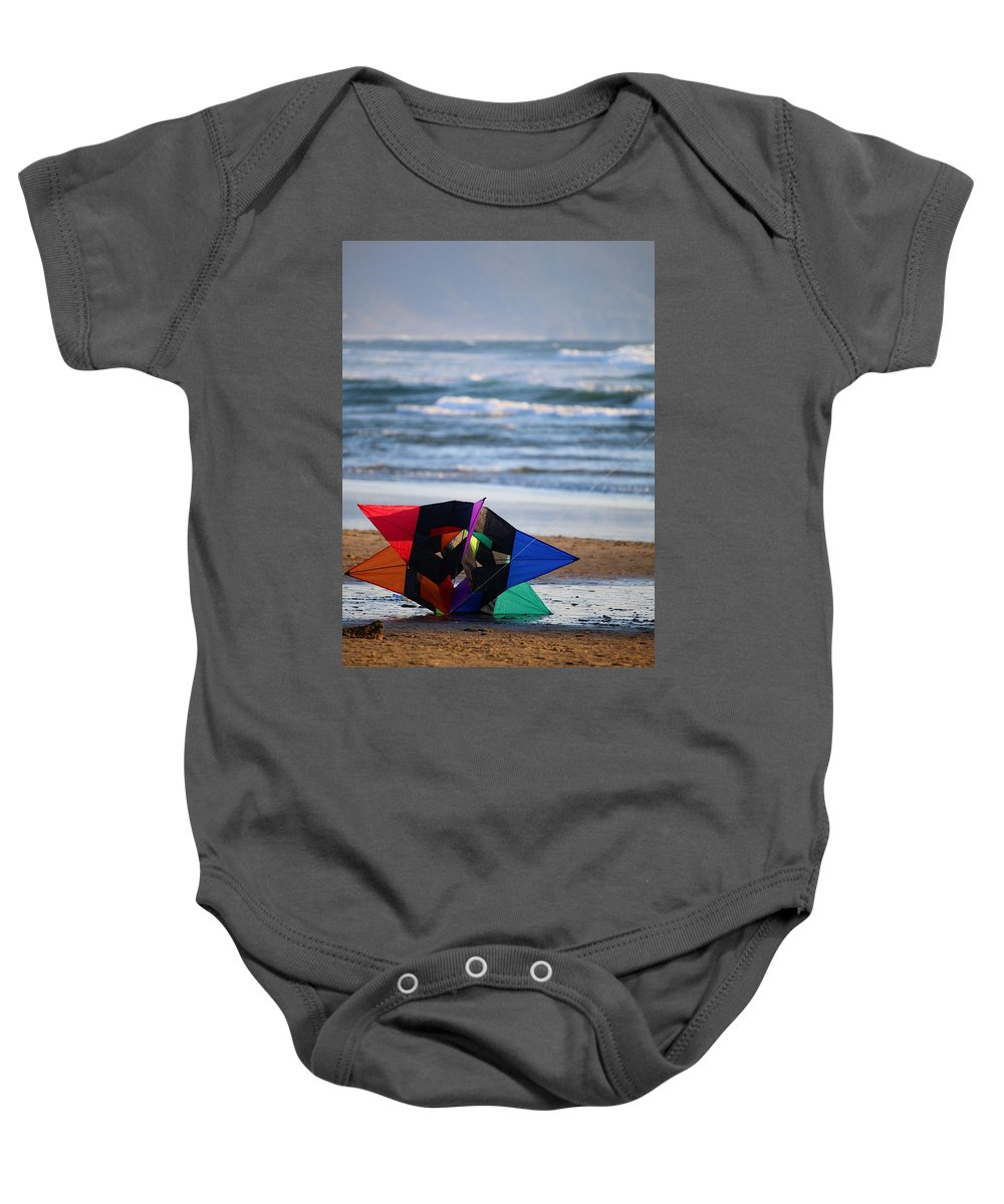 Baby Onesie featuring the photograph Grounded Rainbow by Crooked Cat Art and Photography