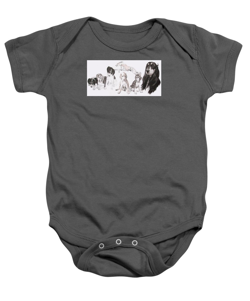 Purebred Dogs Baby Onesie featuring the mixed media Growing Up Saluki by Barbara Keith
