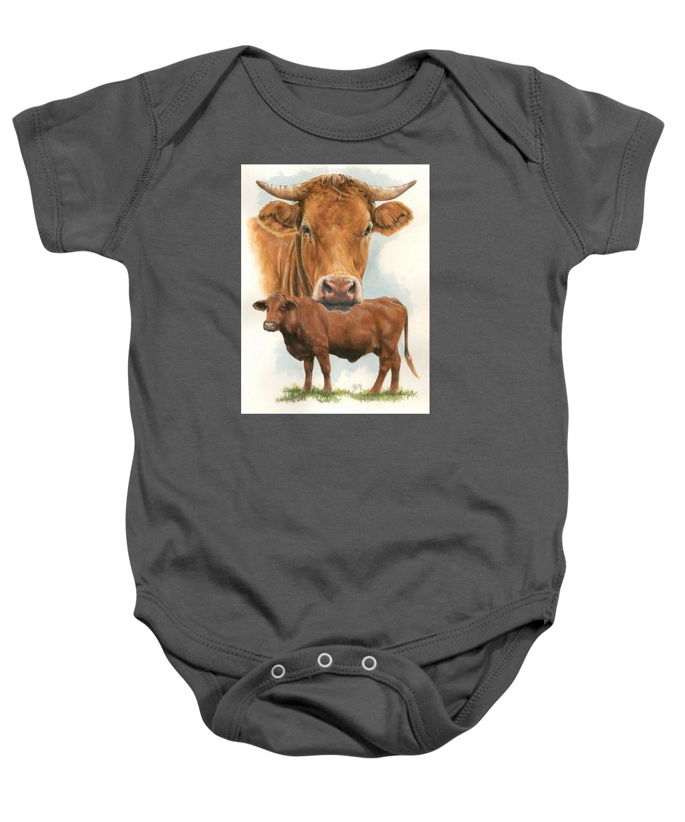 Cow Baby Onesie featuring the mixed media Guernsey by Barbara Keith