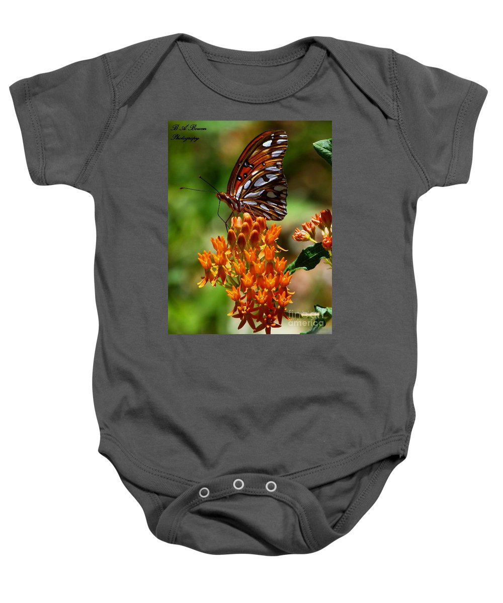Gulf Fritillary Baby Onesie featuring the photograph Gulf Fritillary On Butterflyweed by Barbara Bowen