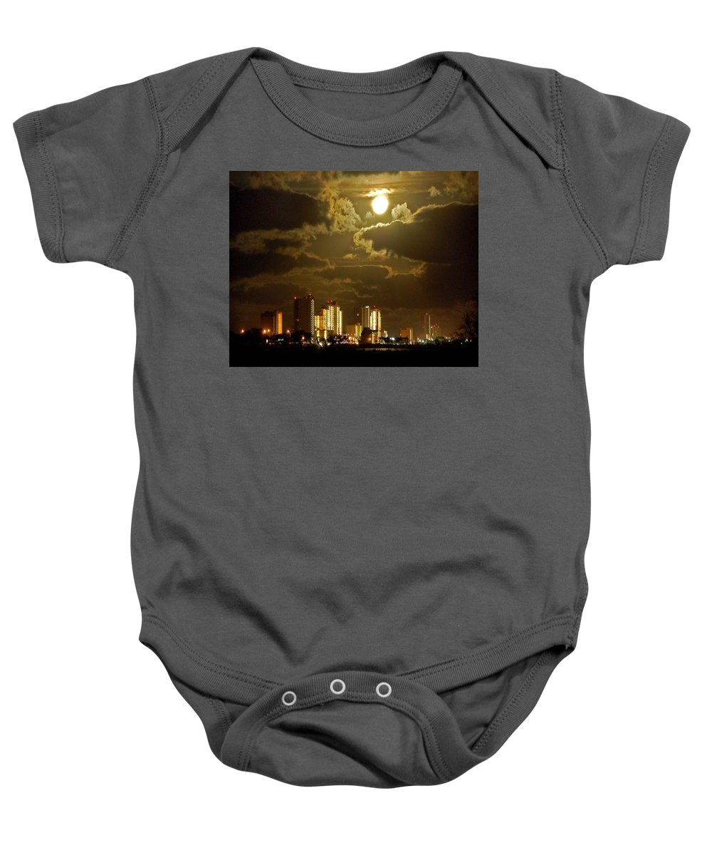 Beach Baby Onesie featuring the painting Gulf Shores Night Skys by Michael Thomas