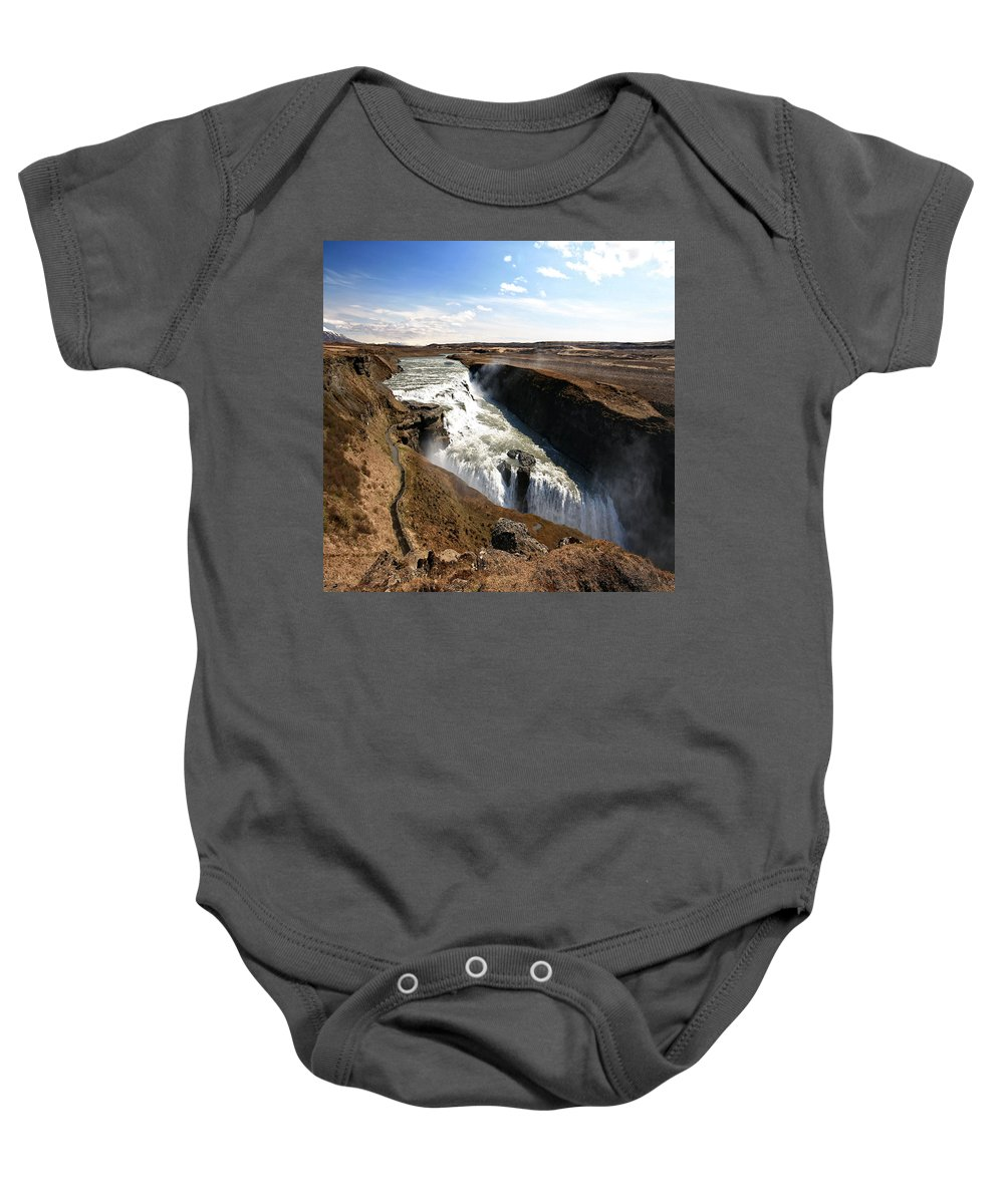 Iceland Baby Onesie featuring the photograph Gullfoss 3 by Ingrid Smith-Johnsen