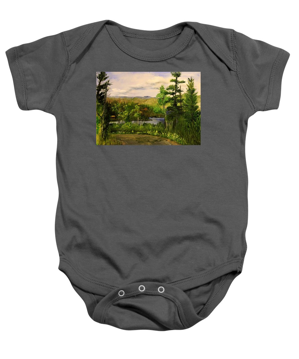 Landscape Baby Onesie featuring the painting Gunflint Overlook by Joi Electa