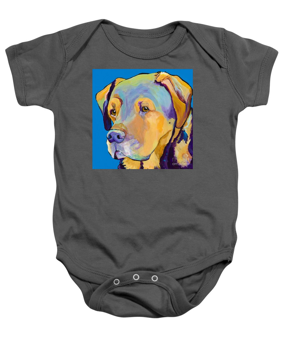 Dog Portrait Baby Onesie featuring the painting Gunner by Pat Saunders-White
