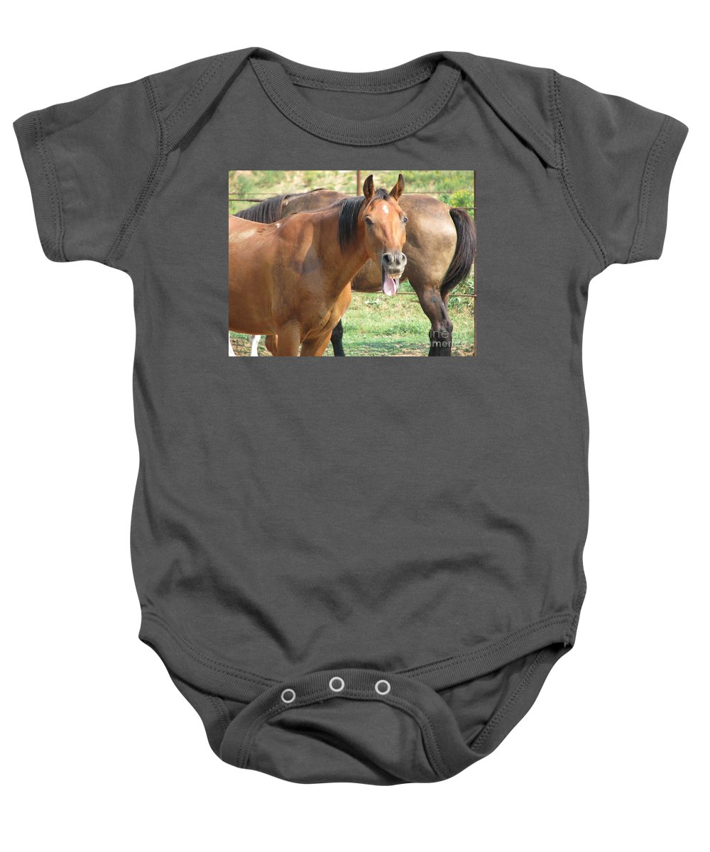 Horse Baby Onesie featuring the photograph Haaaaa by Amanda Barcon