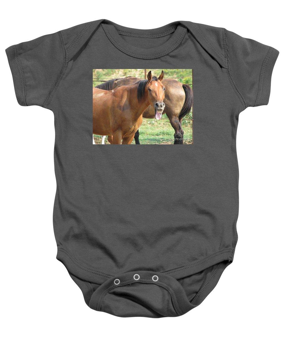 Horse Baby Onesie featuring the photograph Haaaaa by Amanda Barcon