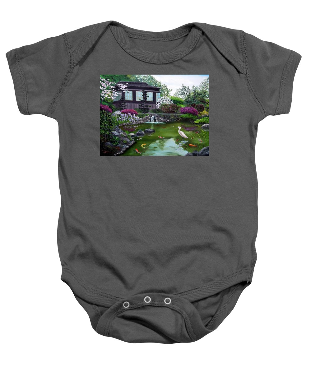 Teahouse Baby Onesie featuring the painting Hakone Gardens Pond In The Spring by Laura Iverson