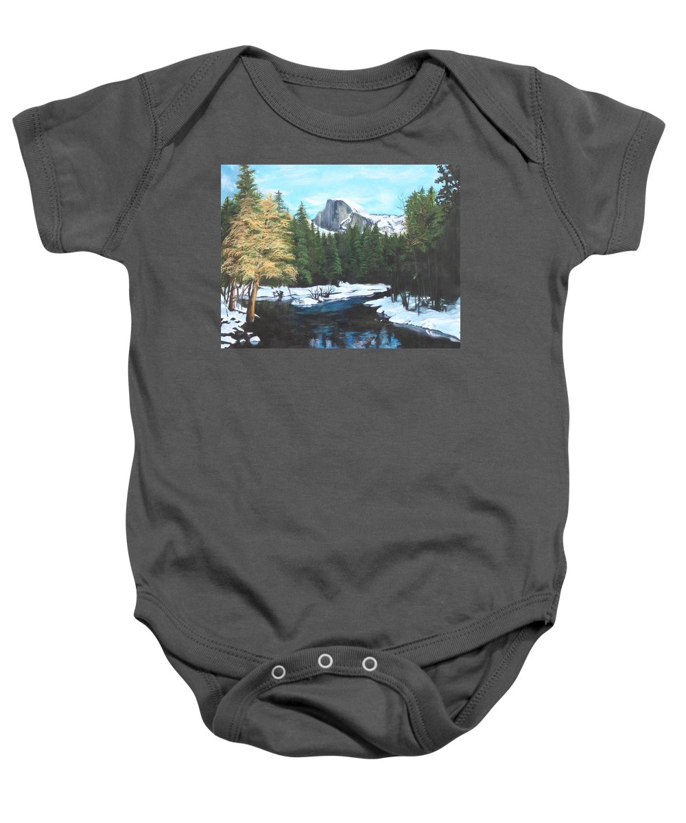 Lkandscape Baby Onesie featuring the painting Half Dome Snow by Travis Day