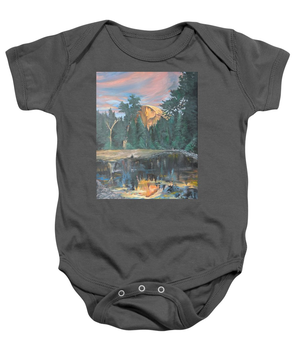 Sunset Baby Onesie featuring the painting Half Dome Sunset by Travis Day