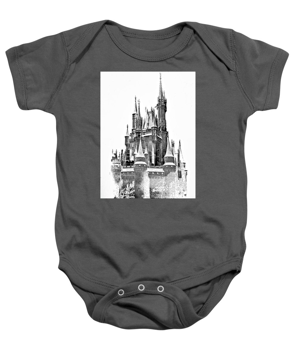 Castle Baby Onesie featuring the photograph Hall Of The Snow King Monochrome by Steve Harrington