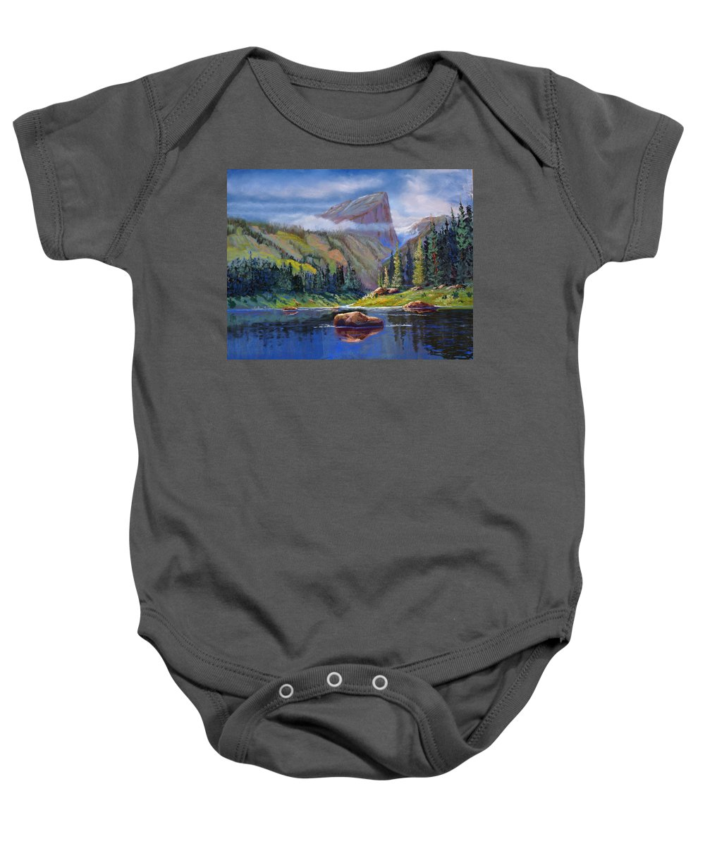 Rocky Mountains Baby Onesie featuring the painting Hallett Peak by Heather Coen