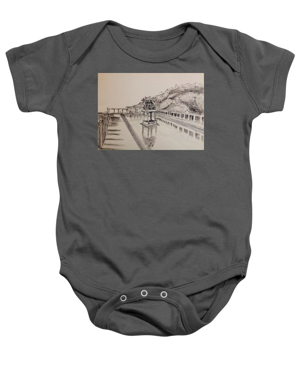 Hampi Baby Onesie featuring the drawing Hampi by Ravi Patil