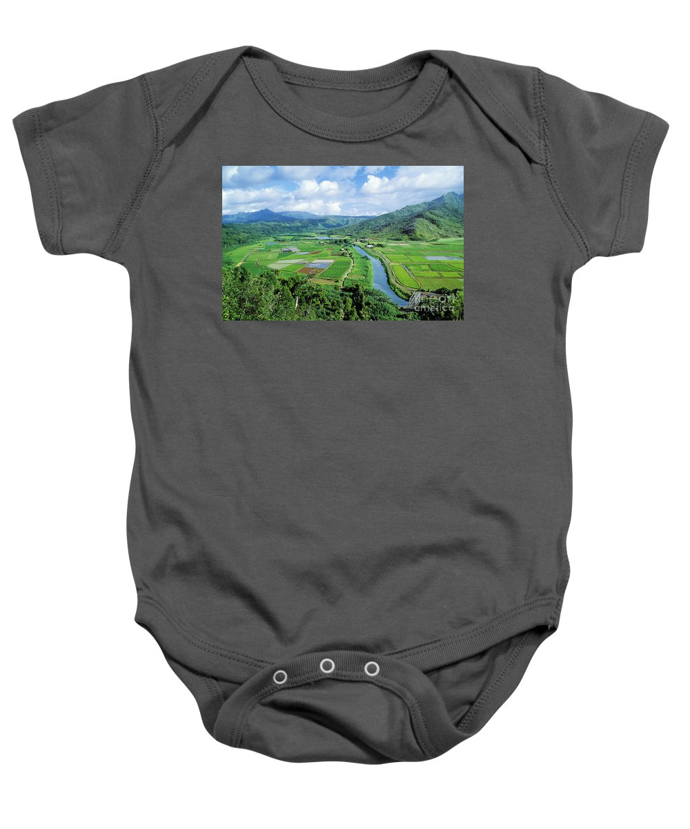 Afternoon Baby Onesie featuring the photograph Hanalei Valley Taro Field by Greg Vaughn - Printscapes