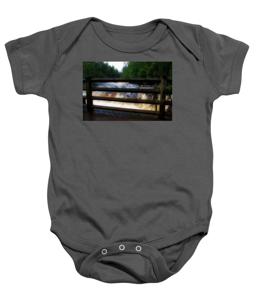 Handrails Baby Onesie featuring the photograph Handrails Tahquamenon Lower Falls Upper Peninsula Michigan 02 by Thomas Woolworth