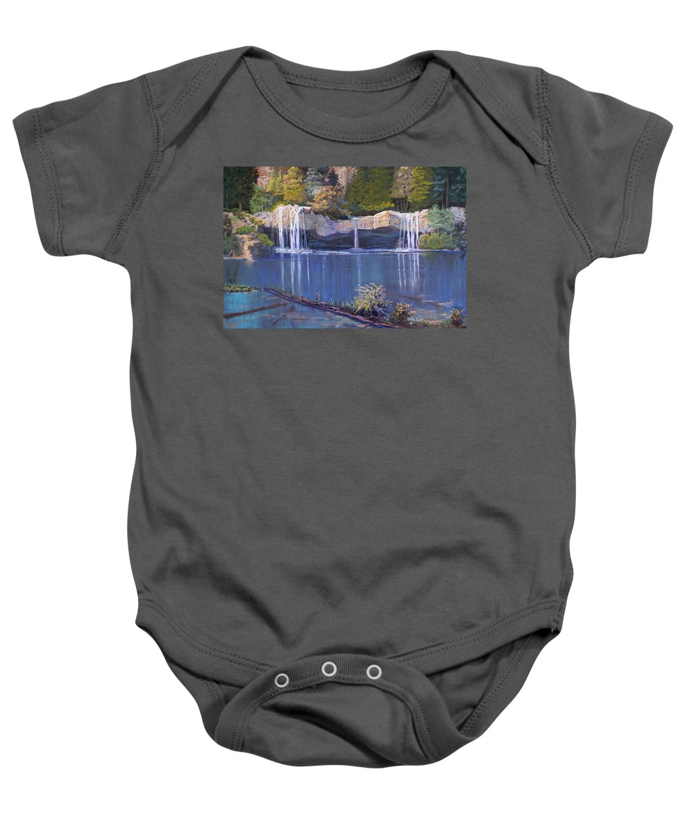 Landscape Baby Onesie featuring the painting Hanging Lake by Heather Coen