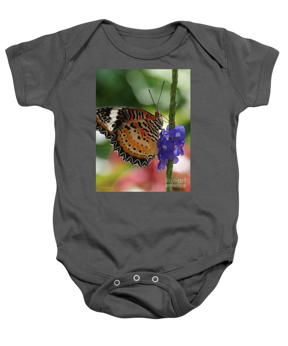 Butterfly Baby Onesie featuring the photograph Hanging On by Shelley Jones