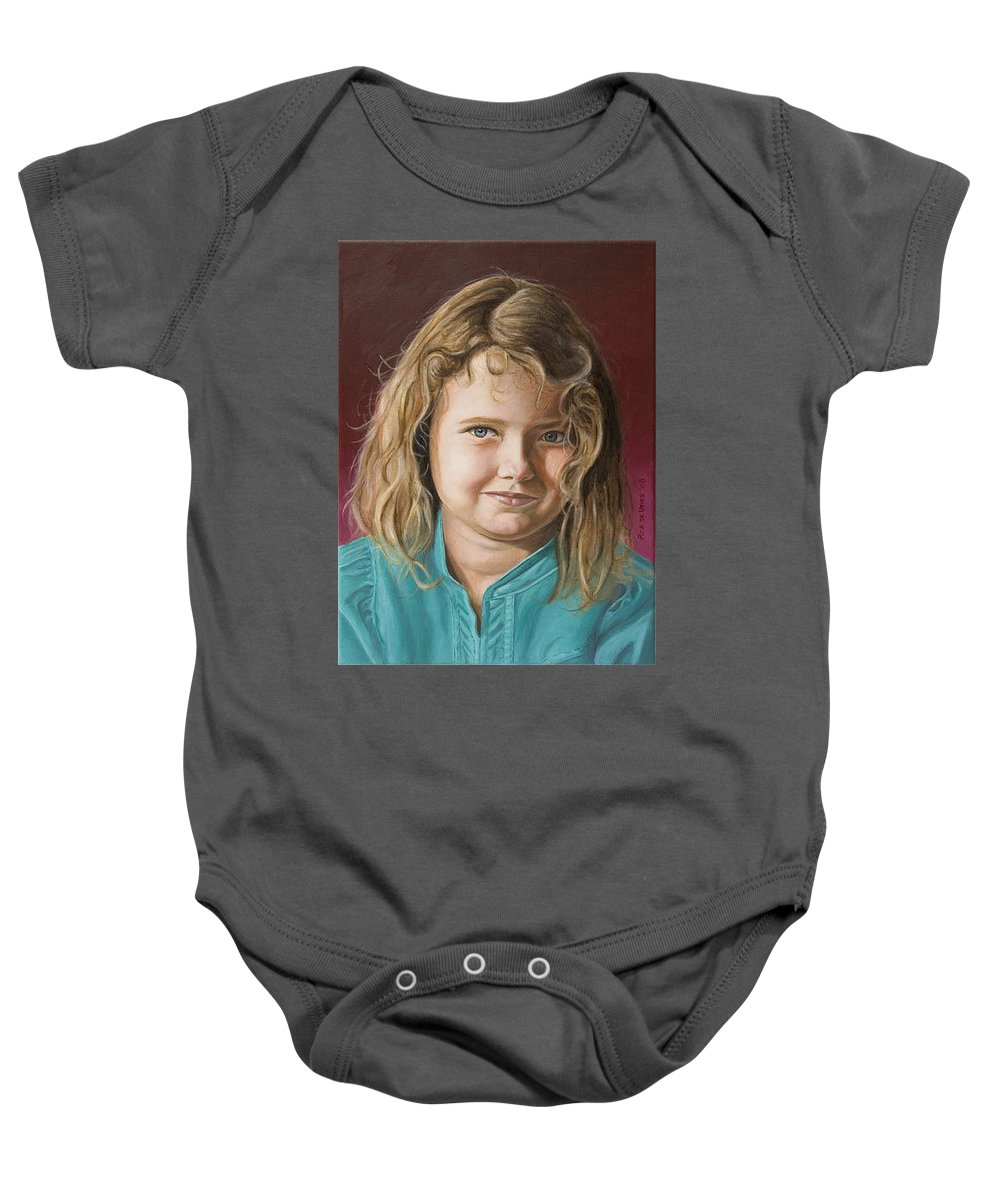 Portrait Baby Onesie featuring the painting Hanna by Rob De Vries
