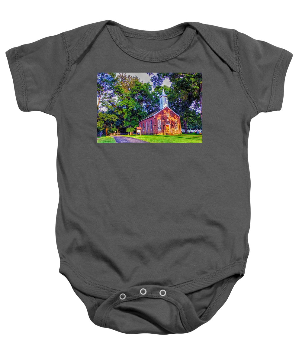 Hanover Lutheran Church Baby Onesie featuring the photograph Hanover Church - Summer by Robert Cox
