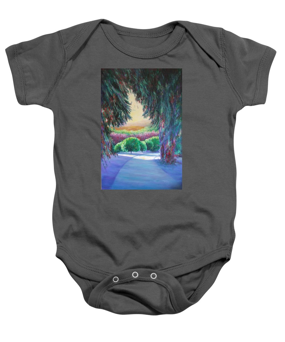 Landscape Baby Onesie featuring the painting Happily Ever After by Shannon Grissom