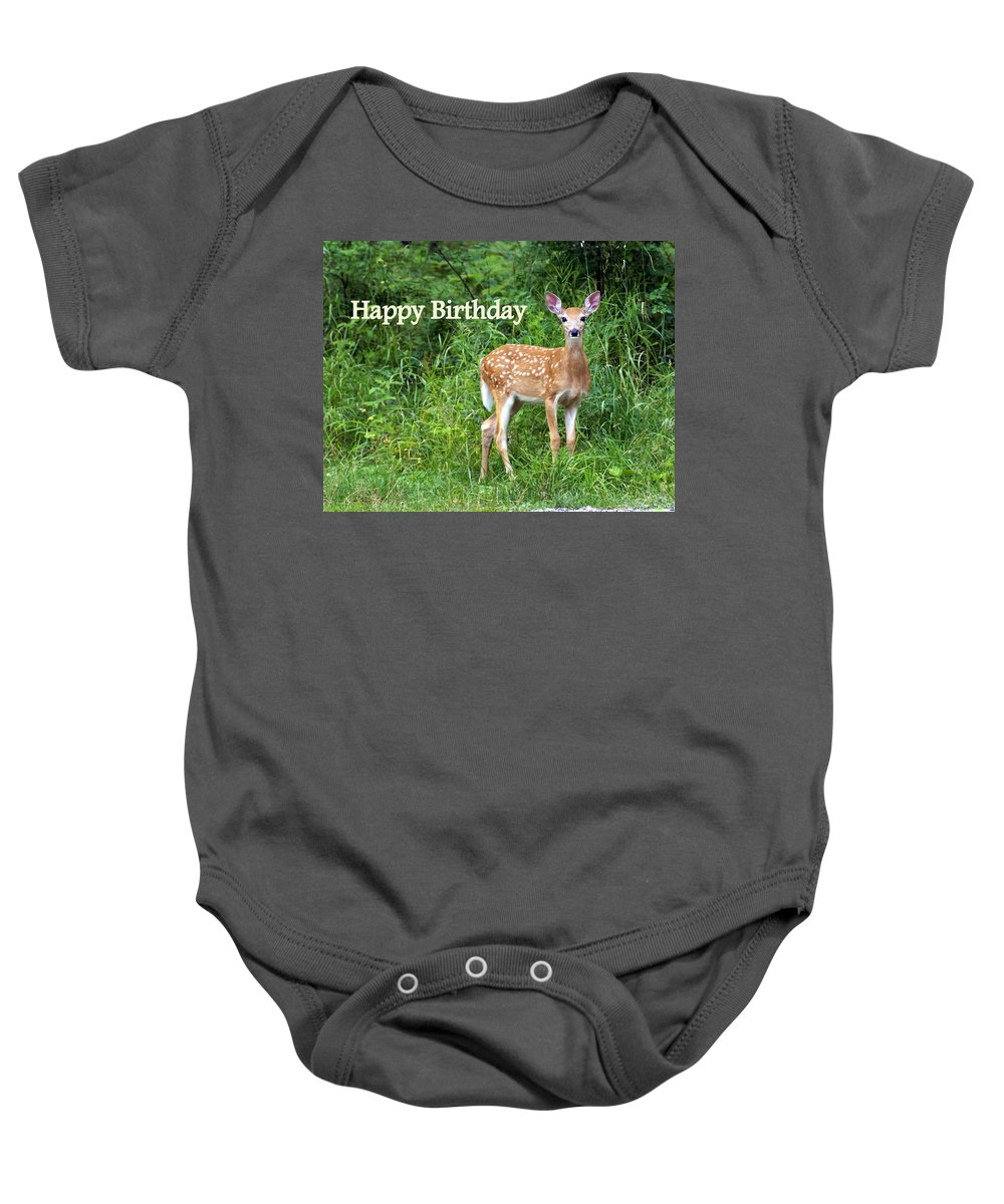 Happy Birthday Baby Onesie featuring the greeting card Happy Birthday 1 by Marty Koch