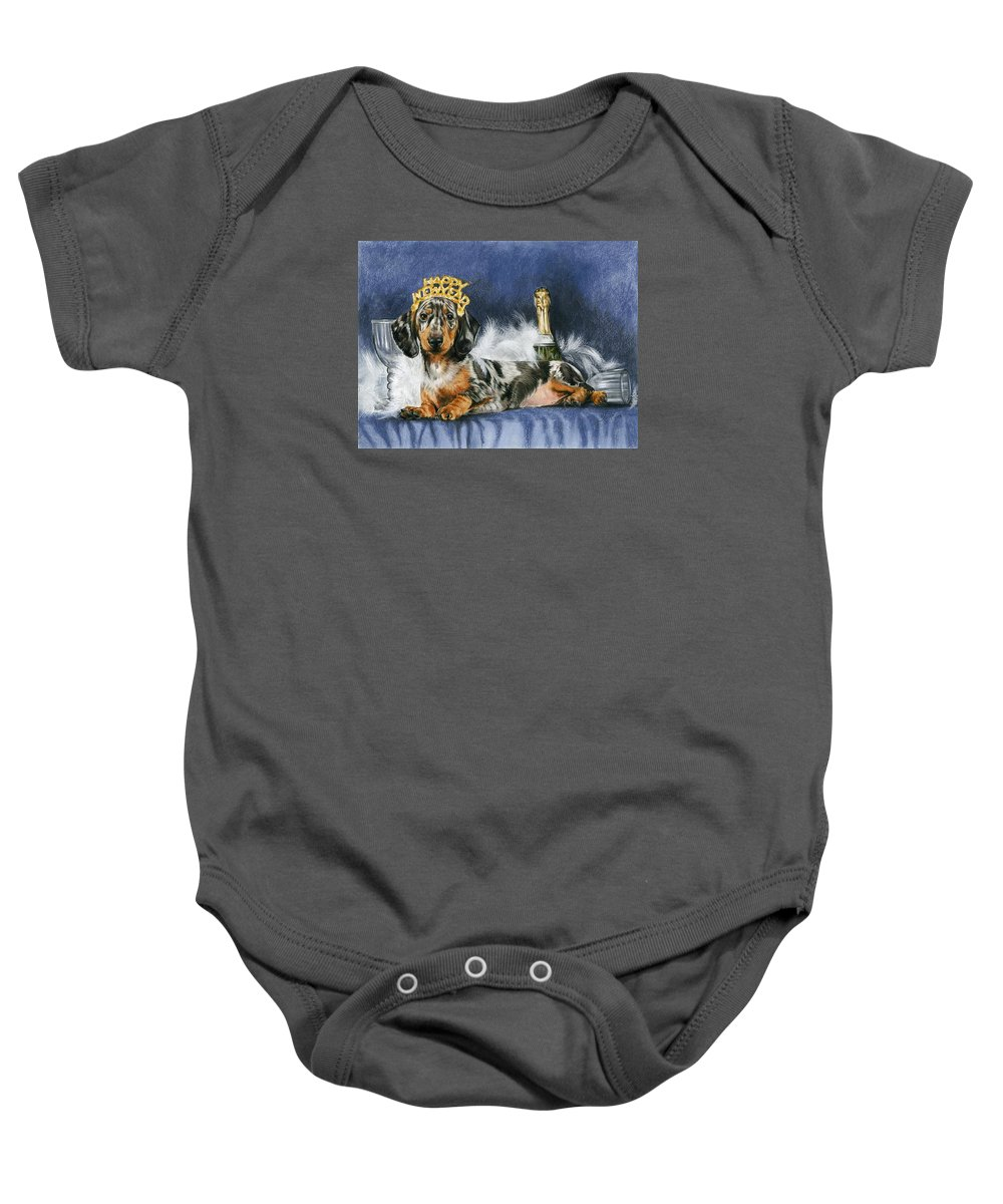 Dog Baby Onesie featuring the mixed media Happy New Year by Barbara Keith