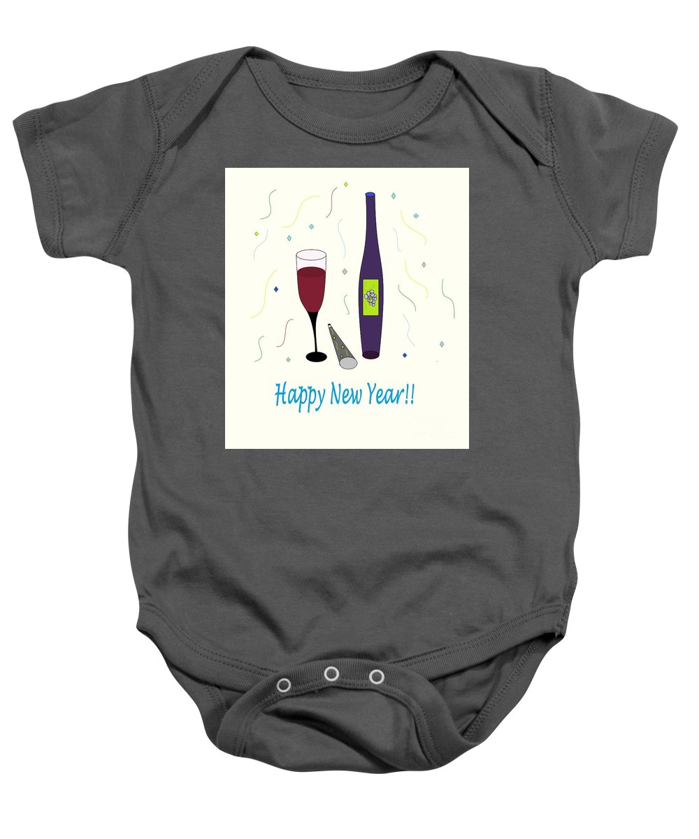 Glass Of Wine Baby Onesie featuring the photograph Happy New Year by Mesa Teresita