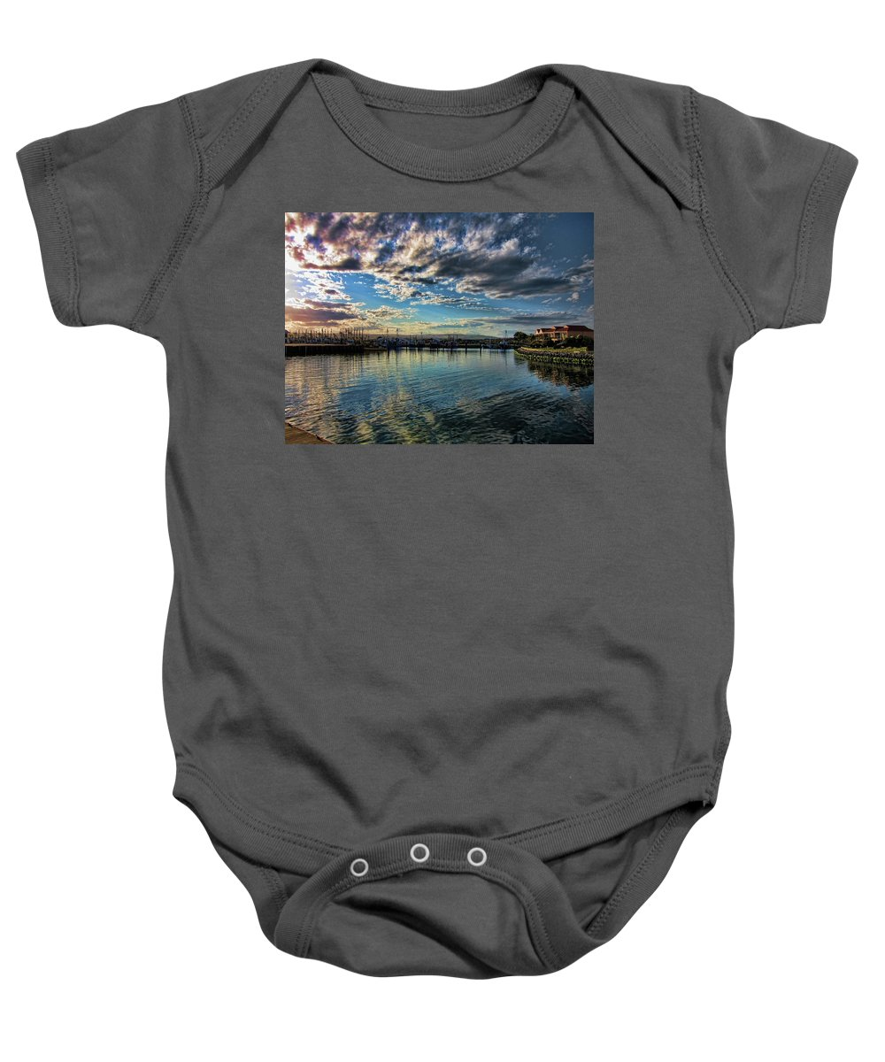 Clouds Baby Onesie featuring the photograph Harbor Delight by Douglas Barnard