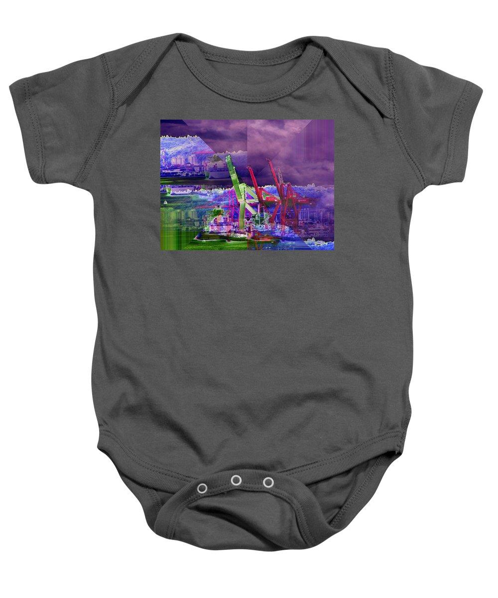 Seattle Baby Onesie featuring the digital art Harbor Island Workhorses by Tim Allen
