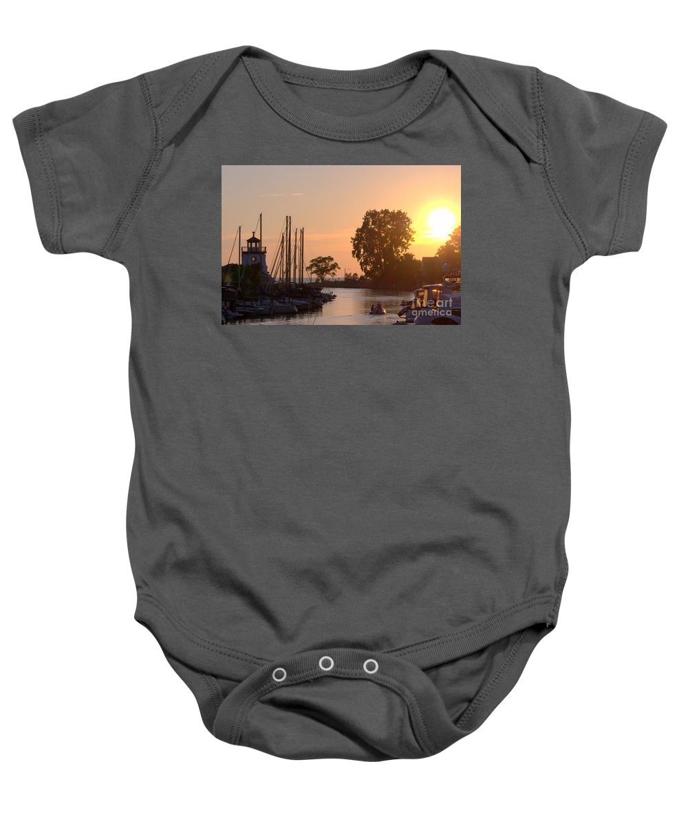 Grand Bend Baby Onesie featuring the photograph Harbor View 11 by John Scatcherd