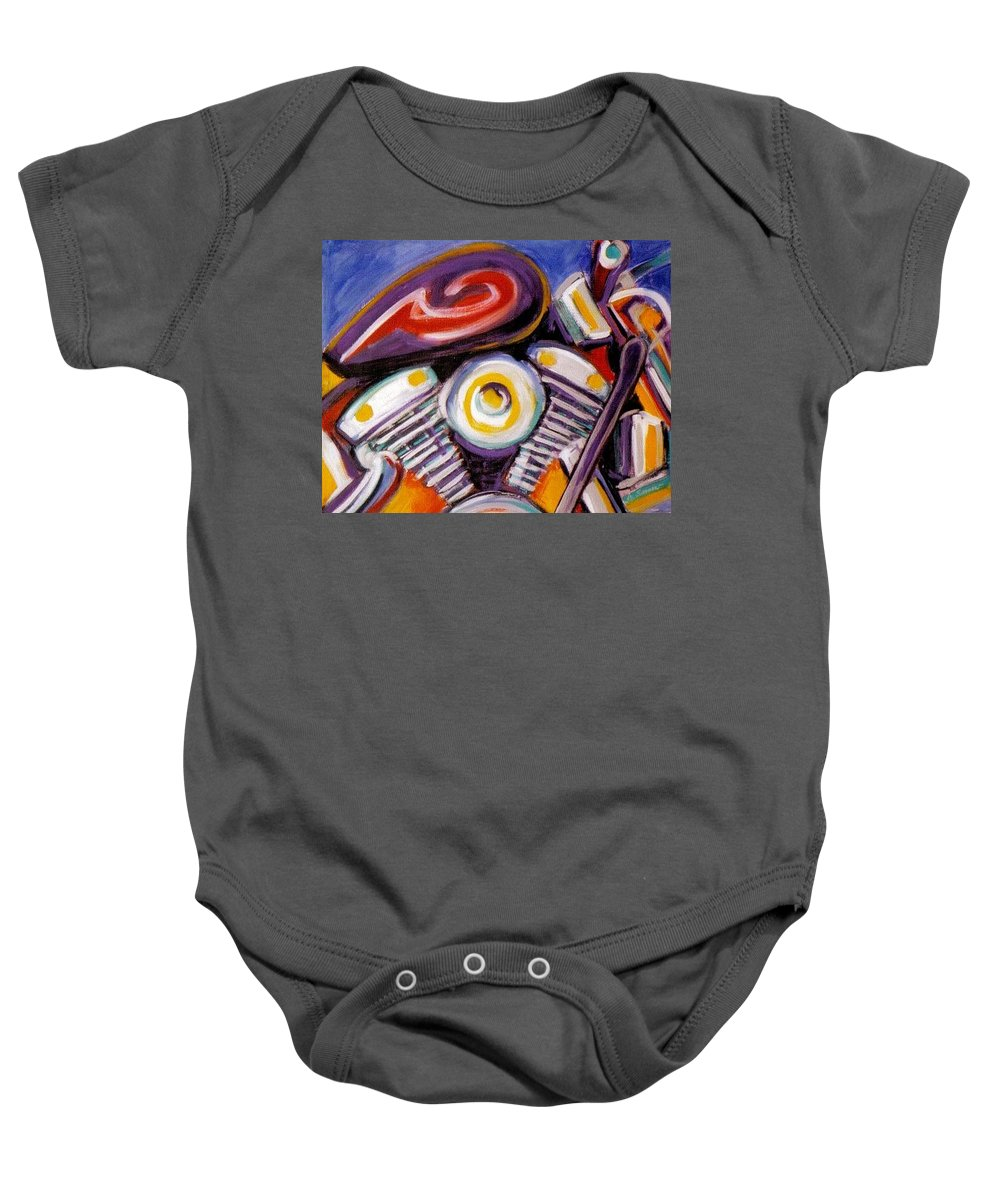 Abstract Baby Onesie featuring the painting Harley Closeup by Anita Burgermeister