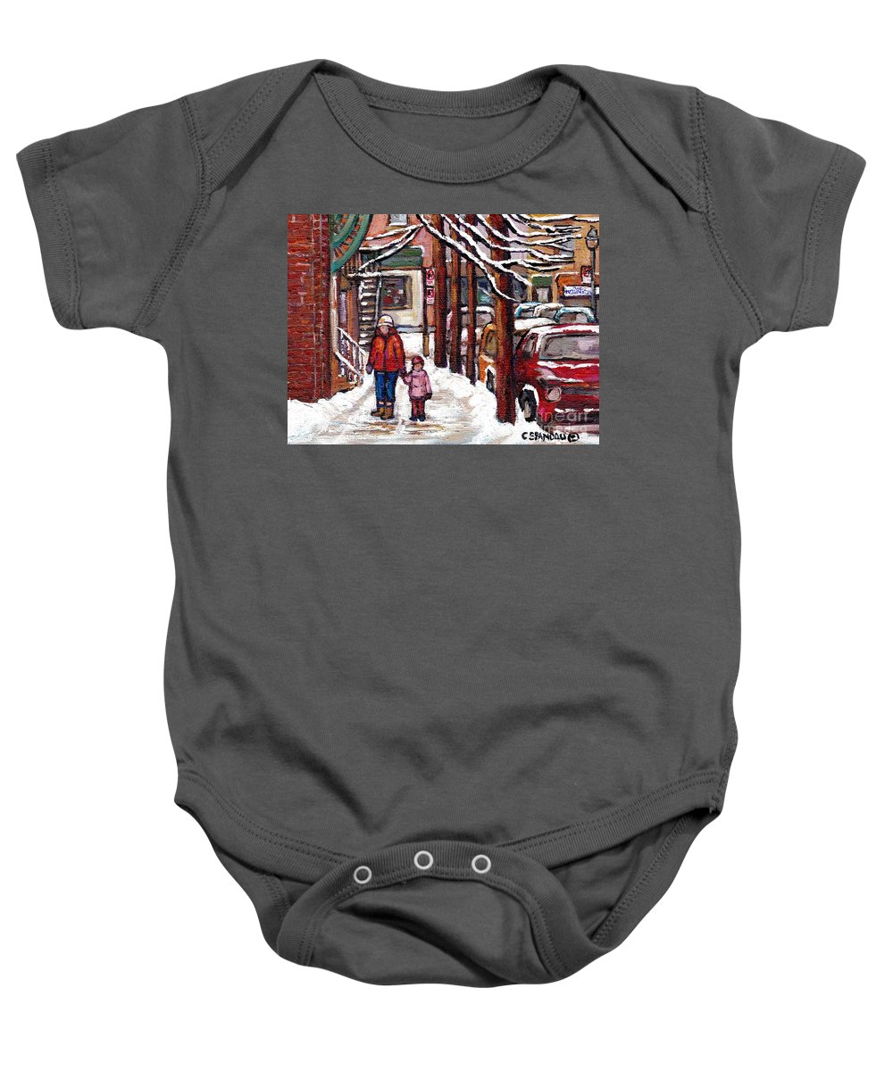 Original Montreal Paintings For Sale Baby Onesie featuring the painting Canadian Winter Scene Paintings Original Art Verdun Montreal Achetez Scenes De Rue Quebec C Spandau by Carole Spandau