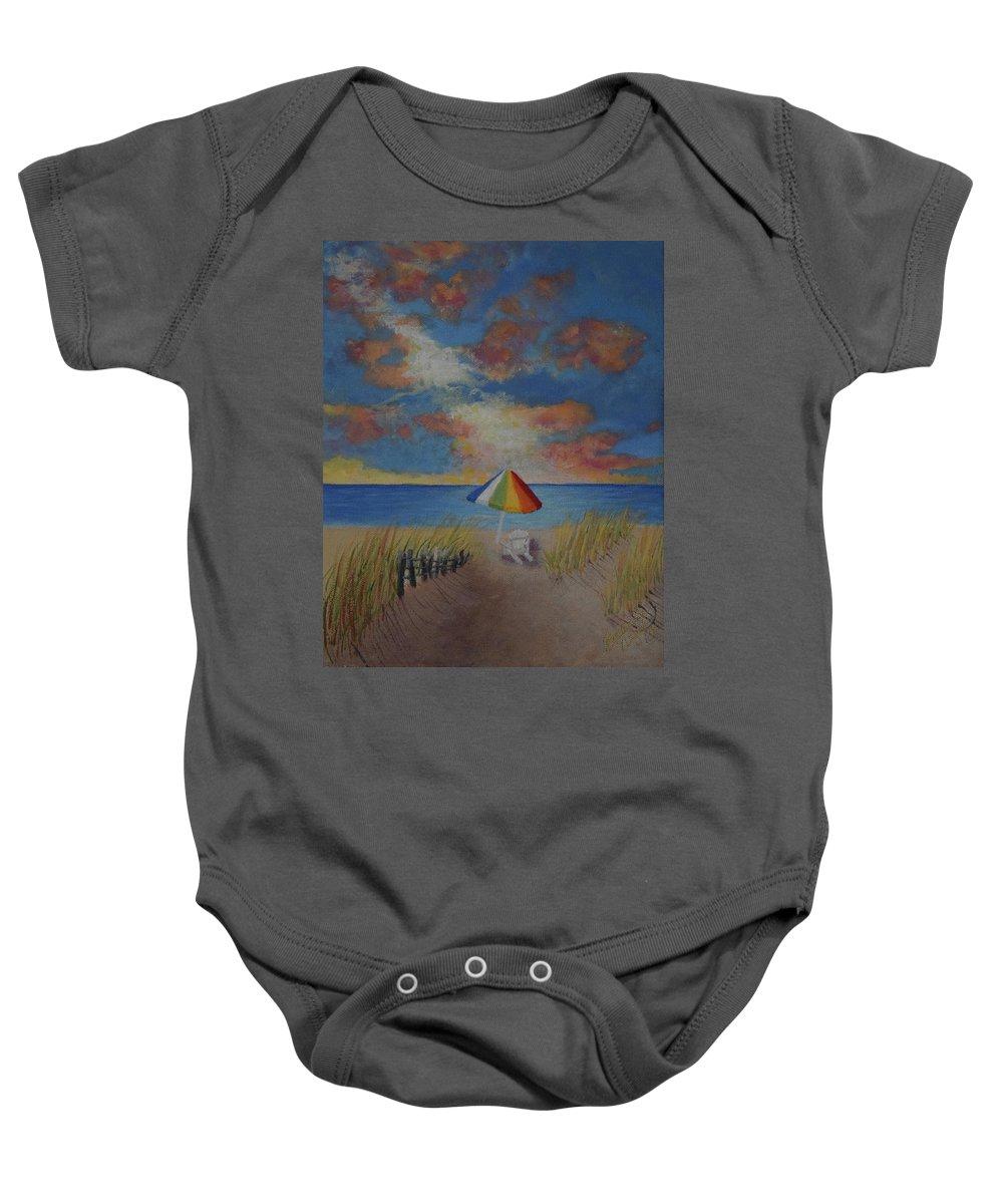 Beach Baby Onesie featuring the painting Harmony by Belinda Nagy