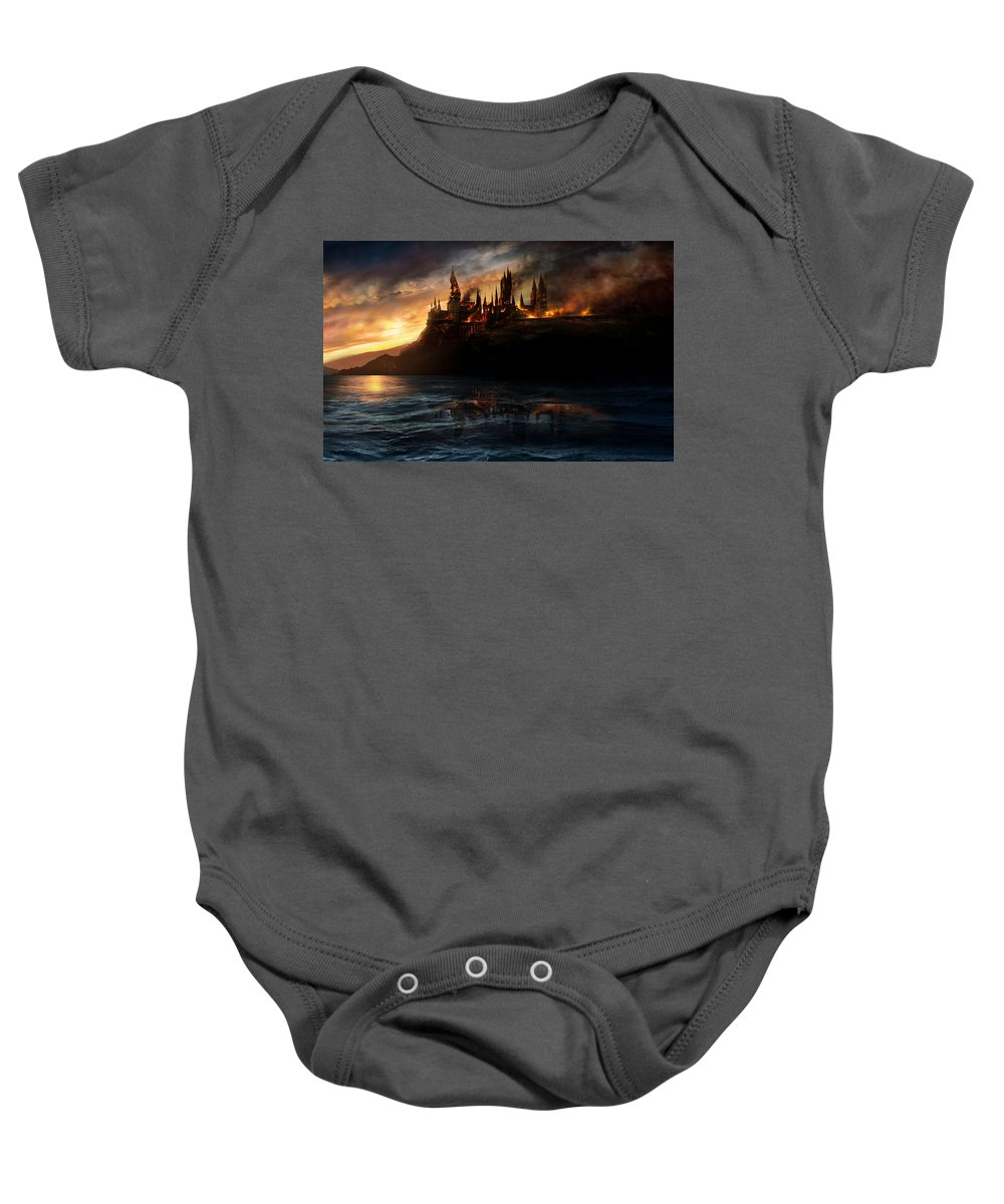 Harry Potter And The Deathly Hallows Part I 2010 Baby Onesie featuring the digital art Harry Potter And The Deathly Hallows Part I 2010 by Geek N Rock