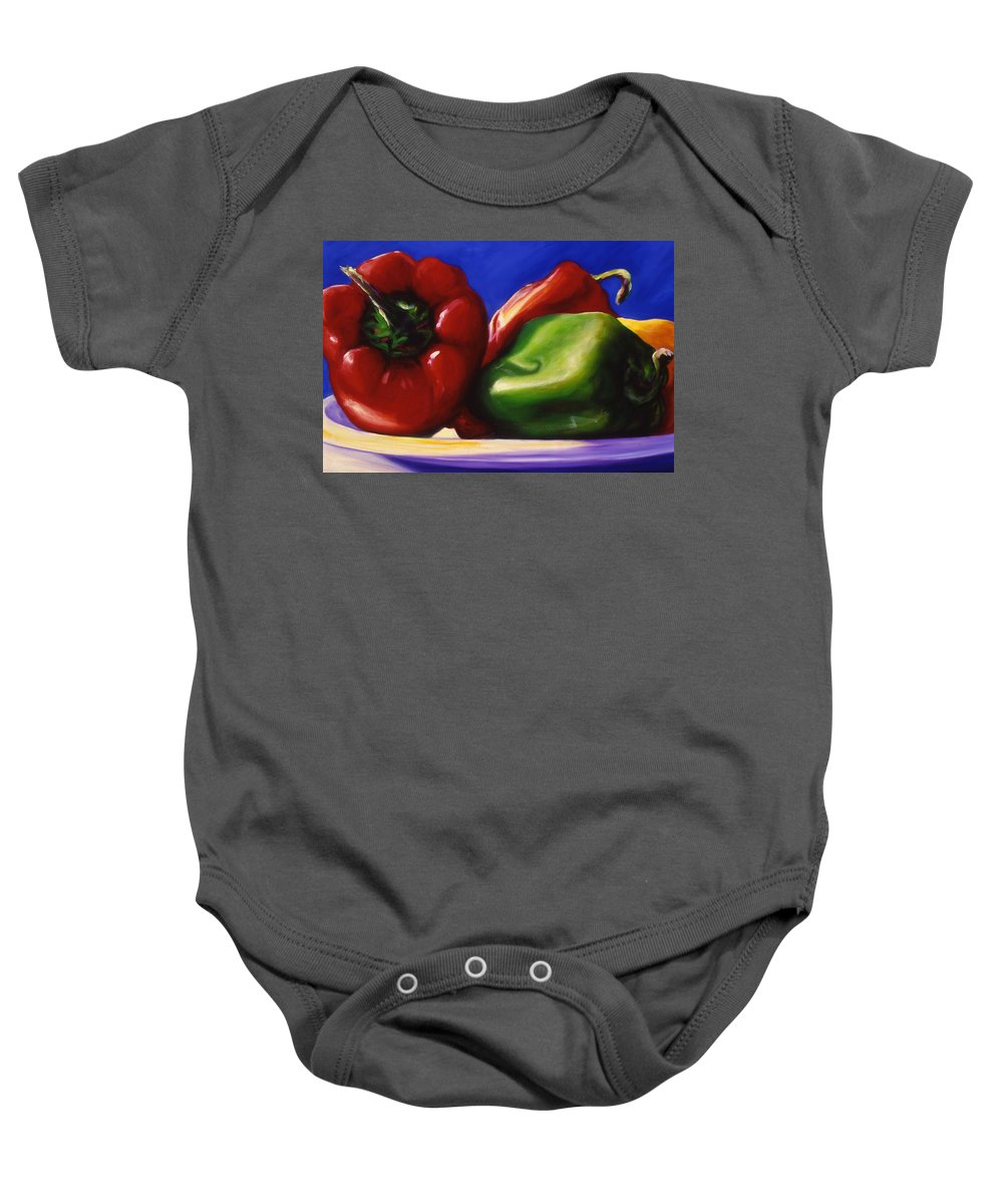 Still Life Baby Onesie featuring the painting Harvest Festival Peppers by Shannon Grissom