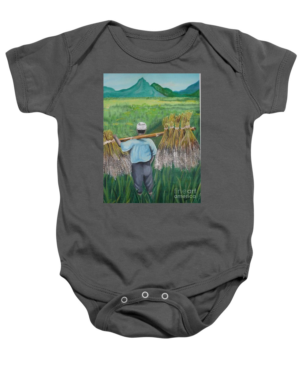 Landscape Baby Onesie featuring the painting Harvest by Kris Crollard