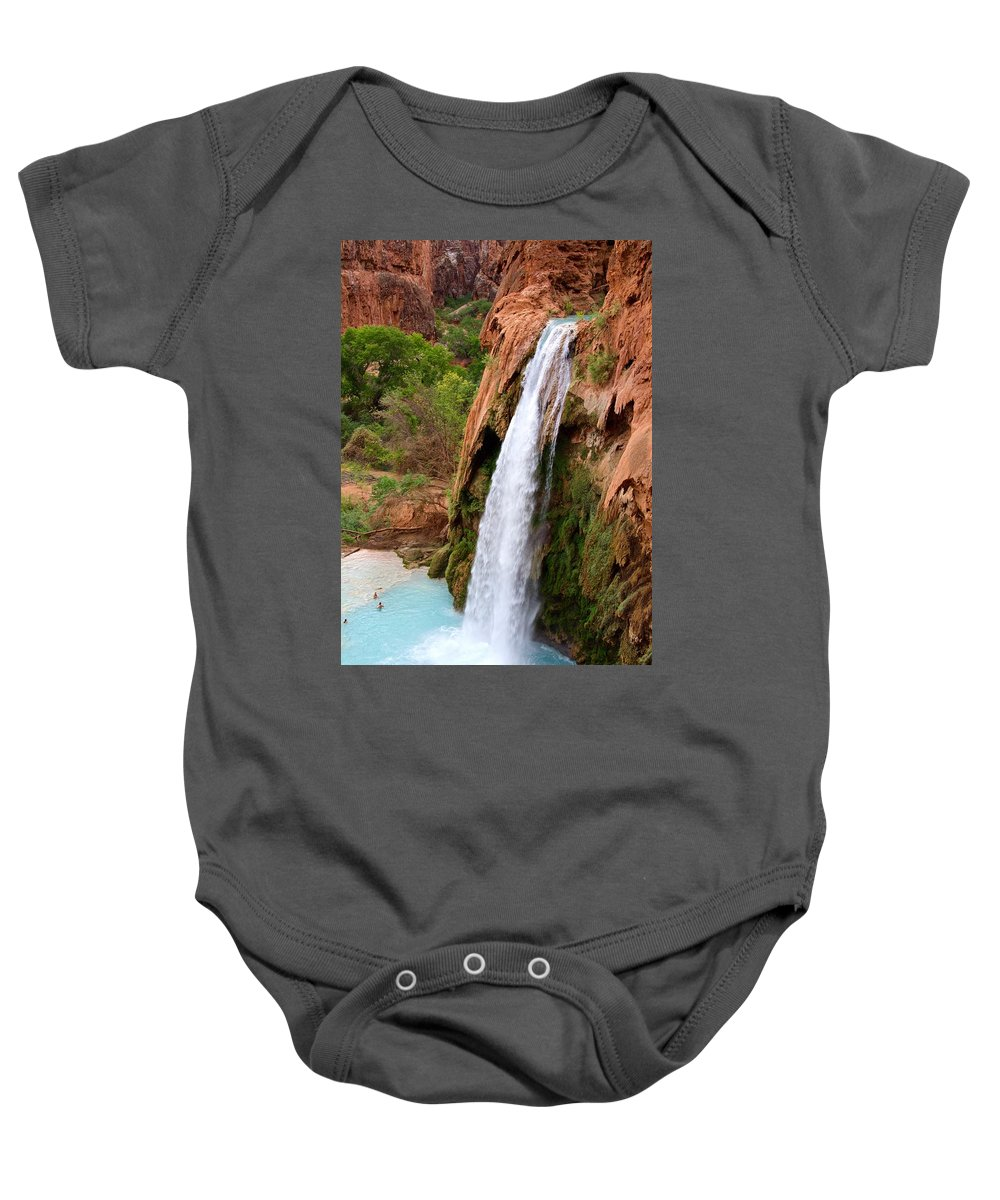Havasu Baby Onesie featuring the photograph Havasu Falls by Catherine Ross