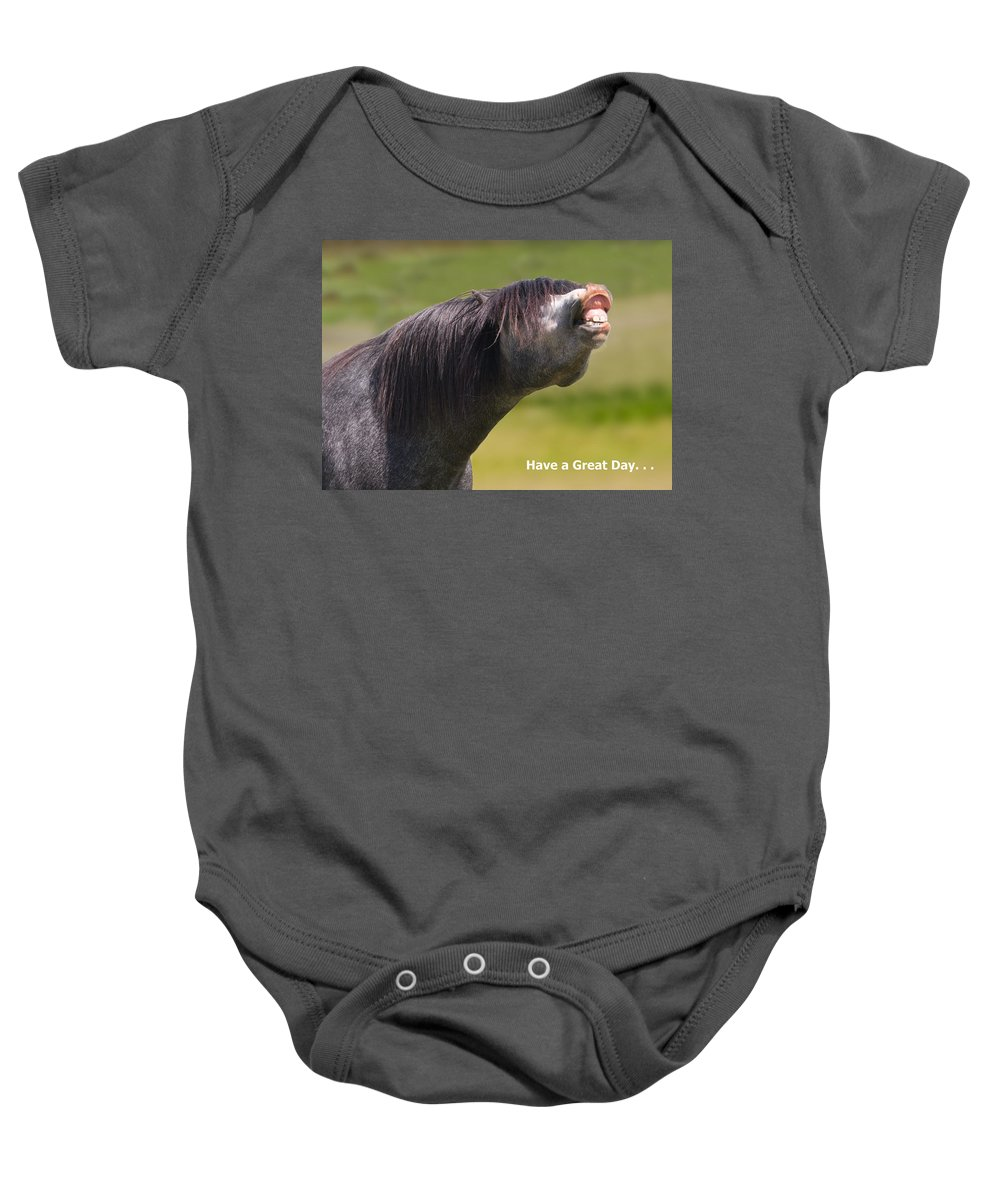 Horse Baby Onesie featuring the photograph Have A Great Day by Karen Ulvestad